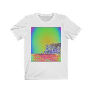 BELLA+CANVAS 3001 - Unisex Jersey Short Sleeve Tee - Remote & unique MONA ISLAND PR - Pajaros beach EDGE and caves - color curve manually modified for contrast & hidden details in front - normal color in back - Yunque Store