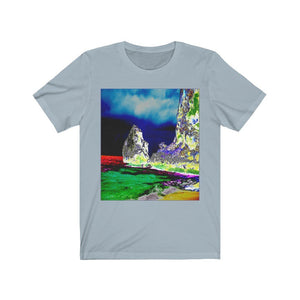 BELLA+CANVAS 3001 - Unisex Jersey Short Sleeve Tee - Remote & unique MONA ISLAND PR - Pajaros beach edge with cave - color curve manually modified for contrast & hidden details in front - normal color in back - Yunque Store