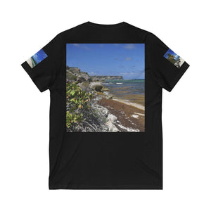 Bella+Canvas - Unisex Jersey Short Sleeve V-Neck Tee - Printed in Germany by Textildruck Europa - Awesome Puerto Rico Beaches - Yunque Store