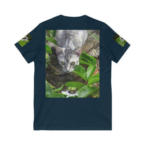 Bella+Canvas - Unisex Jersey Short Sleeve V-Neck Tee - Printed in Germany by Textildruck Europa - Joses cat explores the backyard - Yunque Store