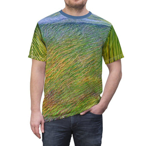 BELLO PR UNISEX AOP Cut & Sew Tee - Art of Nature - Algae next to Pajaros beach and coconut palm leafs - Mona Island - Puerto Rico All Over Prints Printify