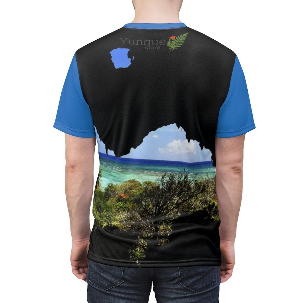 BELLO PR UNISEX AOP Cut & Sew Tee - Art of Nature - Cave view next to Pajaros beach - Mona Island - Puerto Rico - Yunque Store