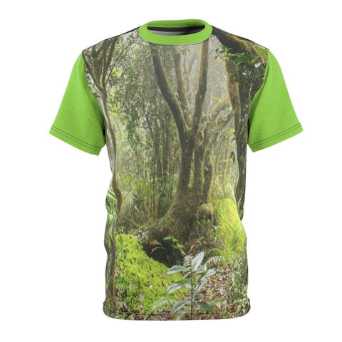 Image of BELLO PR UNISEX AOP Cut & Sew Tee - Paradise path in Tradewinds trail - El Yunque cloud forest - Puerto Rico All Over Prints Printify