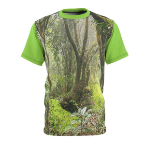 BELLO PR UNISEX AOP Cut & Sew Tee - Paradise path in Tradewinds trail - El Yunque cloud forest - Puerto Rico All Over Prints Printify