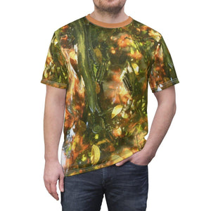 BELLO PR UNISEX AOP Cut & Sew Tee - Pterocarpus forest (swamp illumined by sunset light) in Palmas del Mar - Puerto Rico All Over Prints Printify