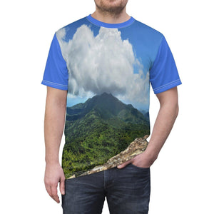 BELLO PR Unisex AOP Cut & Sew Tee - View of El Yunque rainforest from Mt Britton tower 3k feet All Over Prints Printify