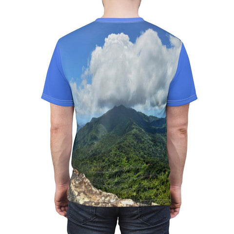 Image of BELLO PR Unisex AOP Cut & Sew Tee - View of El Yunque rainforest from Mt Britton tower 3k feet All Over Prints Printify