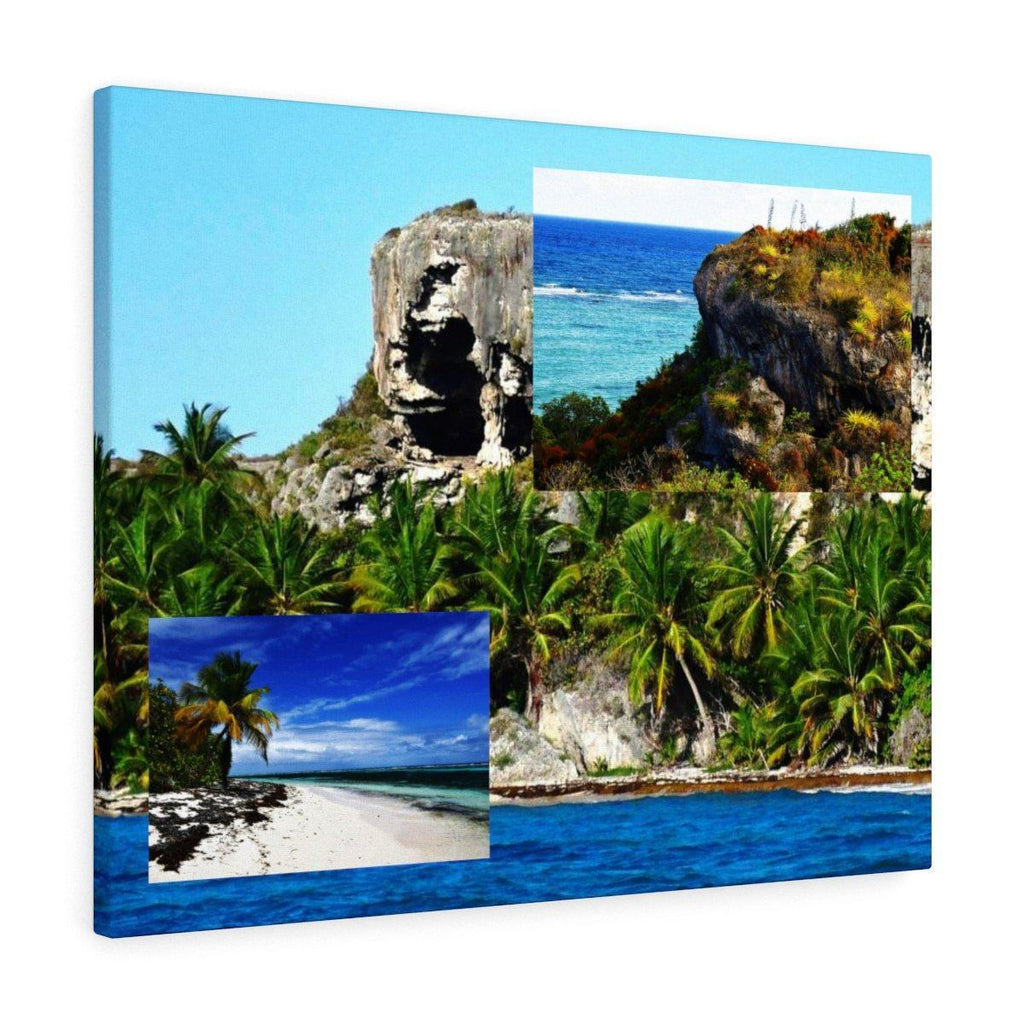 Breathtaking composition of Mona Island off Puerto Rico - the Galapagos of the Caribbean - Thrilling Pajaros beach Canvas Printify
