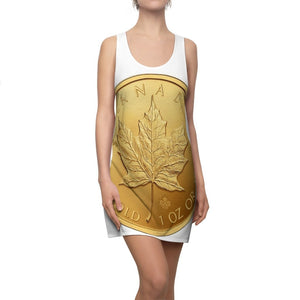 CANADA GOLD COIN - Women's Cut & Sew Racerback Dress - CANADA GOLD coin front and back - Yunque Store