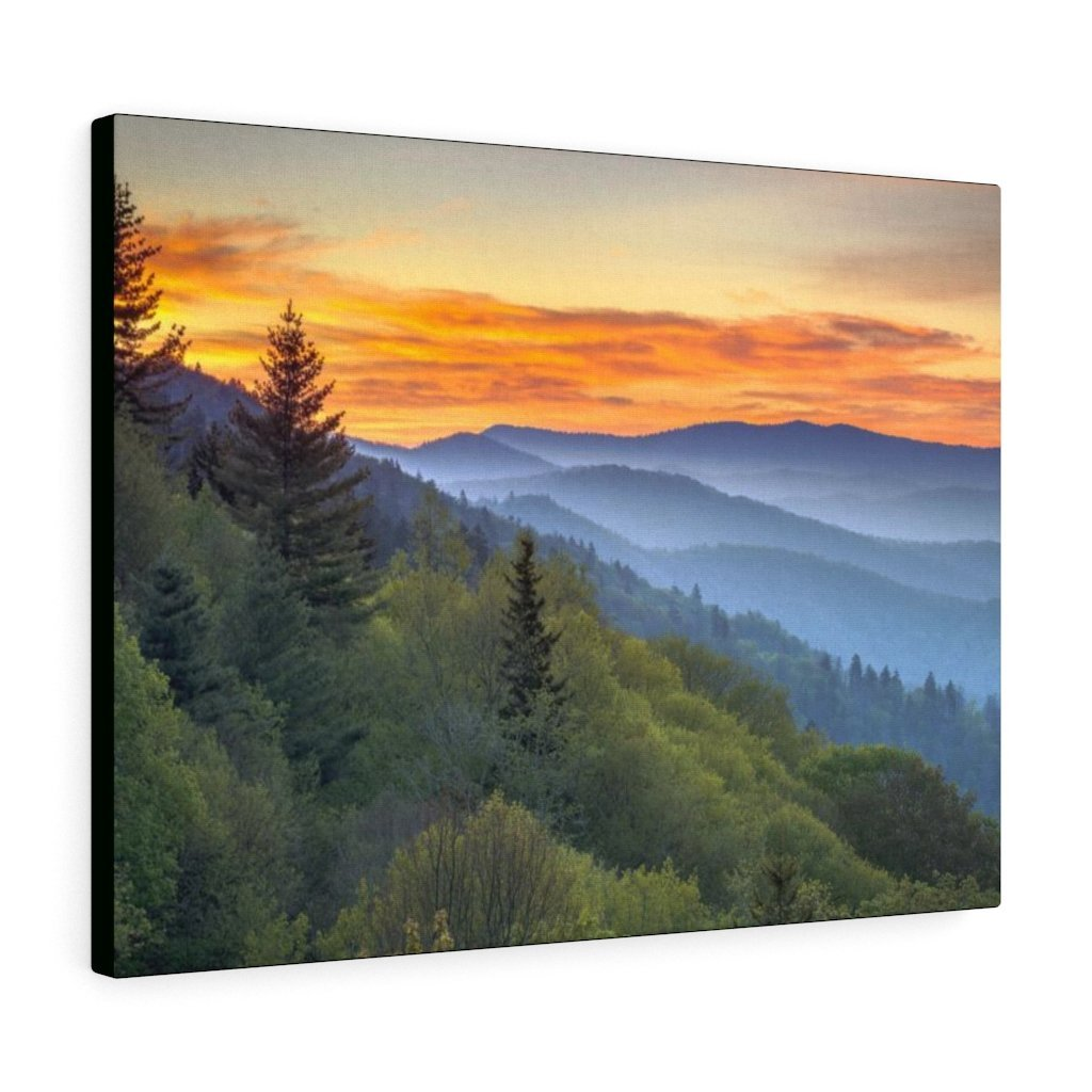 Canvas Gallery Wraps - A HEAVENLY VIEW - Scenic Sunrise Landscape at Oconaluftee Overlook - the top of the world here - in Smoky Mountain National Park in Summer in Mountain National Park (SMNP) USA - Yunque Store