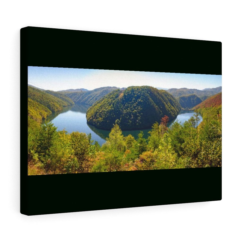 Canvas Gallery Wraps - Calderwood Lake Bending River Panorama in Smoky Mountain National Park in Summer in Mountain National Park (SMNP) USA - Yunque Store