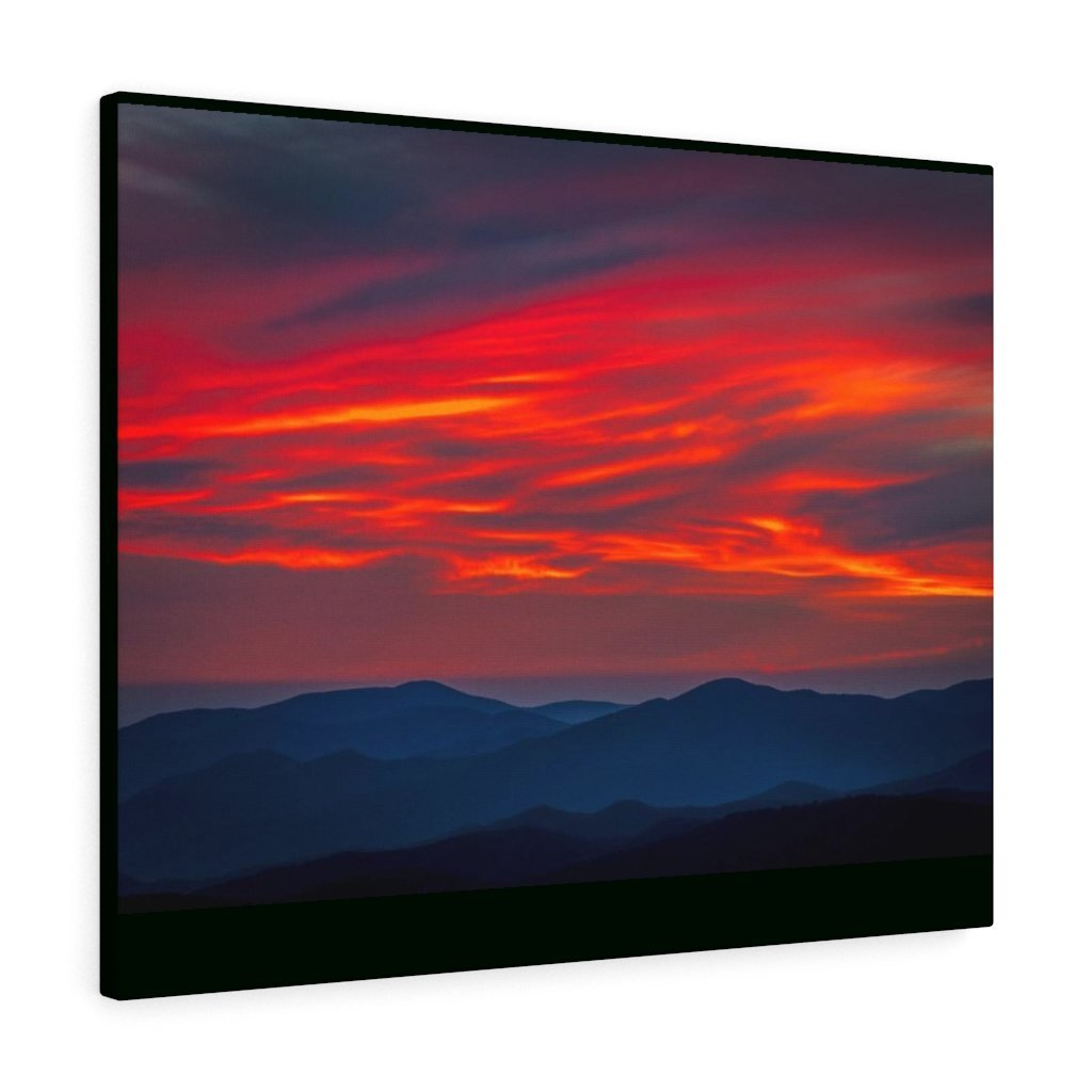 Canvas Gallery Wraps - Cloudy Golden sunset Clingman Dome at 6,643 feet - in Smoky Mountain National Park in Summer in Mountain National Park (SMNP) USA - Yunque Store
