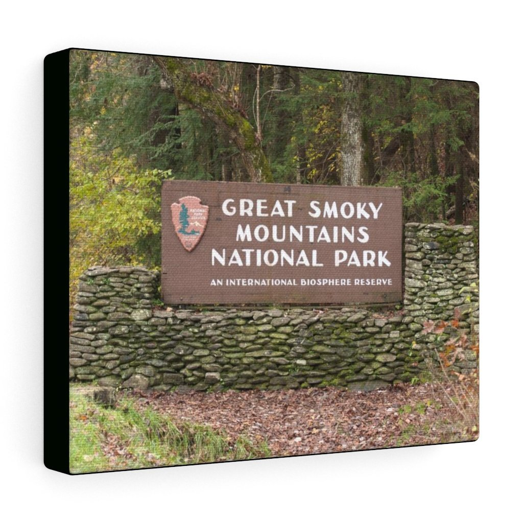 Canvas Gallery Wraps - Entrance sign at south entrance for reference use - in Smoky Mountain National Park in Summer in Mountain National Park (SMNP) USA - Yunque Store