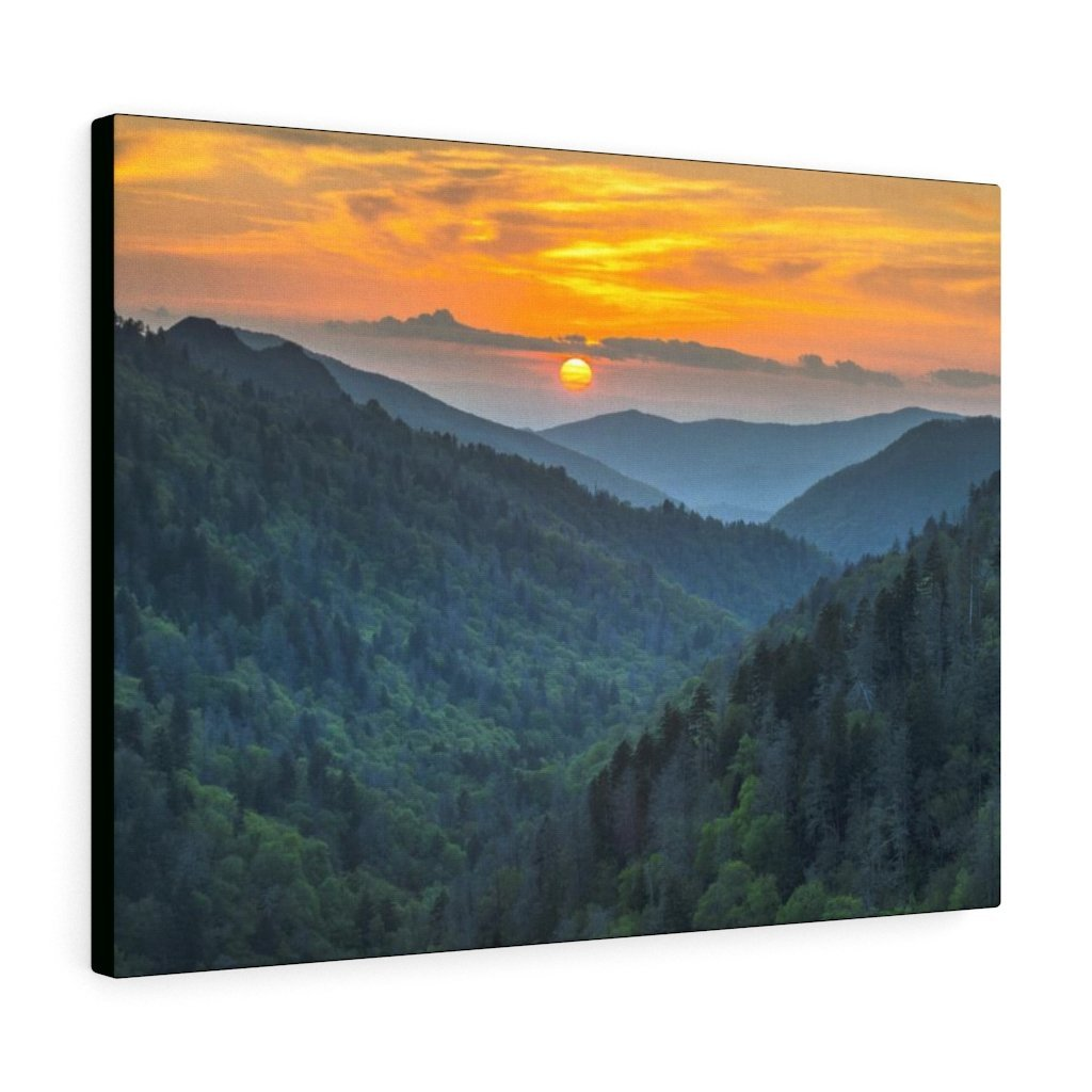 Canvas Gallery Wraps - Scenic Sunset Landscape - once in a lifetime view - in Smoky Mountain National Park in Summer in Mountain National Park (SMNP) USA - Yunque Store