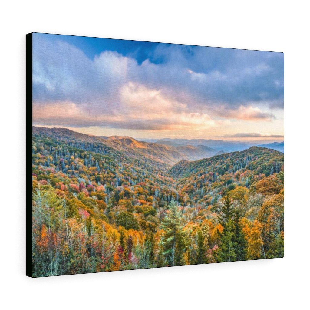 Canvas Gallery Wraps - The Glorious autumn landscape at Newfound Gap in Smoky Mountain National Park in Summer in Mountain National Park (SMNP) USA - Yunque Store