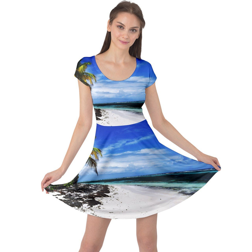 Cap Sleeve Dress - Remote & pristine MONA island Pajaros beach on clear day - Yunque Store