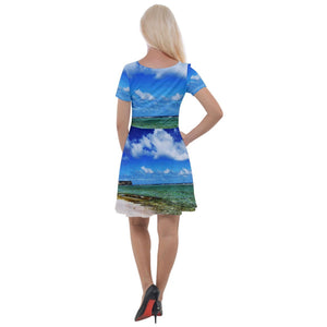 Cap Sleeve Velour Dress - Awesome remote Mona Island beaches Puerto Rico - Yunque Store