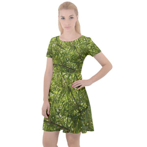Cap Sleeve Velour Dress - Classic Bamboo Leaves from El Yunque Rainforest Puerto Rico - Yunque Store