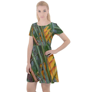 Cap Sleeve Velour Dress - Tropical Heliconias in flower - El Yunque rainforest Puerto Rico - Yunque Store