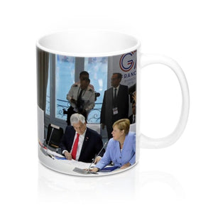 Ceramic Mug 11oz - Trump skips (the empty chair) the G7 Climate Change meetings in France - made in USA - Yunque Store