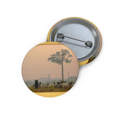 Cheap Pin Buttons - Made in USA in 2 days - Amazon forest fires leave cattle and animals stranded in smoke Accessories Printify