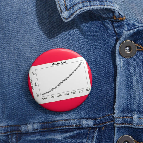 Cheap Pin Buttons - Made in USA in 2 days - The Mouna Loa observatory record of CO2 growth for 50 years Accessories Printify