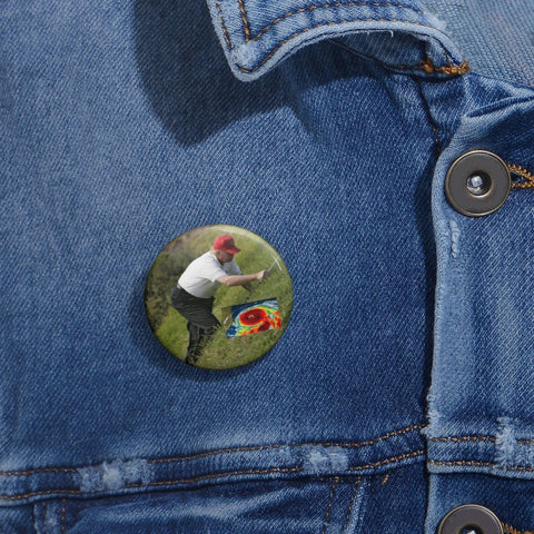 Cheap Pin Buttons - Made in USA in 2 days - Trump plays Golf (and How!) while Hurricane Dorian approaches the East Coast Accessories Printify