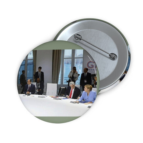 Cheap Pin Buttons - Made in USA in 2 days - Trump skips (empty chair) the Climate change G7 meeting in France Accessories Printify