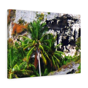 Clear view of huge awesome caves of Mona Island - Puerto Rico - the Galapagos of the Caribbean - in Pajaros beach Canvas Printify