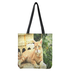Cloth Tote Bags - Our cat Orange relaxing on backyard in Puerto Rico 🐱🐱🐱 - Yunque Store
