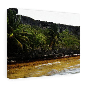 Colorful Pajaros beach from pier - Puerto Rico - the Galapagos of the Caribbean Canvas Printify