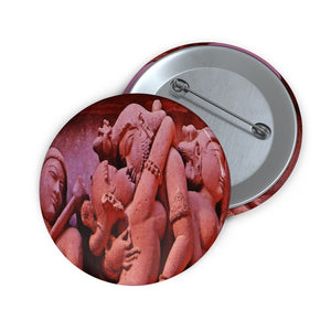 Custom Pin Buttons - NON VIOLENCE - LOVE CONQUERS ALL - ANCIENT INDIA TANTRIC TEMPLES - Yunque Store