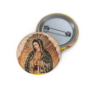 Custom Pin Buttons - Our Lady of Guadalupe, also known as the Virgen of Guadalupe - Mexico - Catholicism - Yunque Store