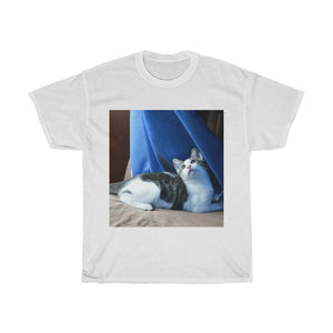 Deal $16 - US print Gildan 5000 - Unisex Heavy Cotton Tee - Awesome home baby cat Dante dazzled with the curtains, light and wind - Isabela Puerto Rico - Yunque Store