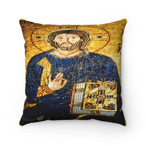DEAL - Faux Suede Square Pillow - 11th century mosaic of Jesus Christ on the wall of Hagia Sophia - a Cathedral-Mosque-Museum in Istanbul - Yunque Store