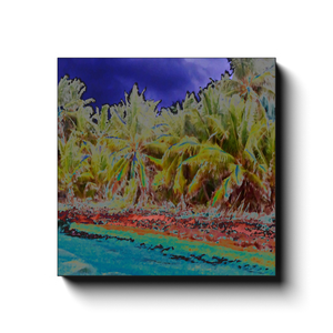 DEALS - Canvas Wraps - Coconut Palms - Pajaros beach in the remote Mona Island - color curves manually modified for special effects - Yunque Store