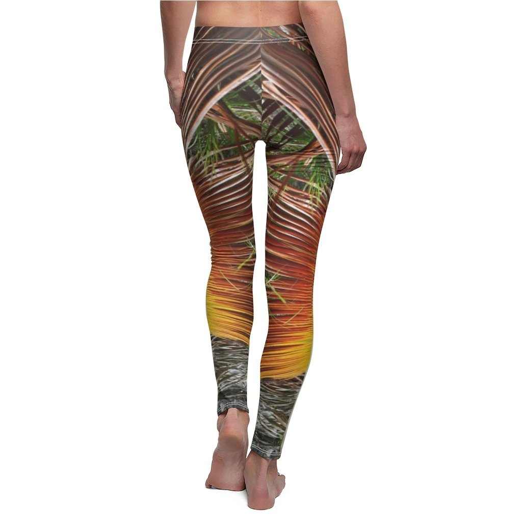 DEALS - Women's Cut & Sew Casual Leggings - Dry palm leaf pattern - REMOTE Mona Island - Galapagos of the Caribbean - Puerto Rico - Yunque Store