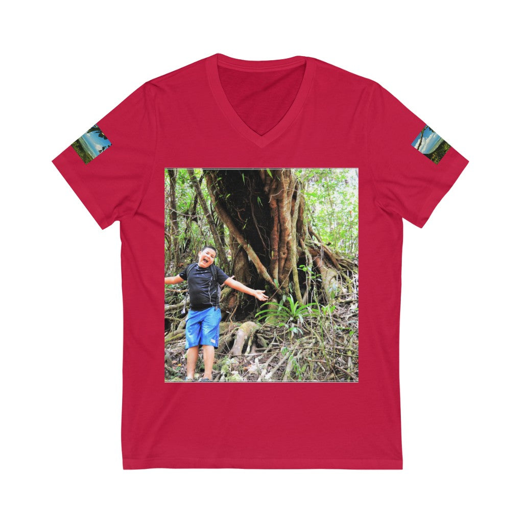 Bella+Canvas - Unisex Jersey Short Sleeve V-Neck Tee - Printed in Germany by Textildruck Europa - El Yunque Rainforest - Puerto Rico