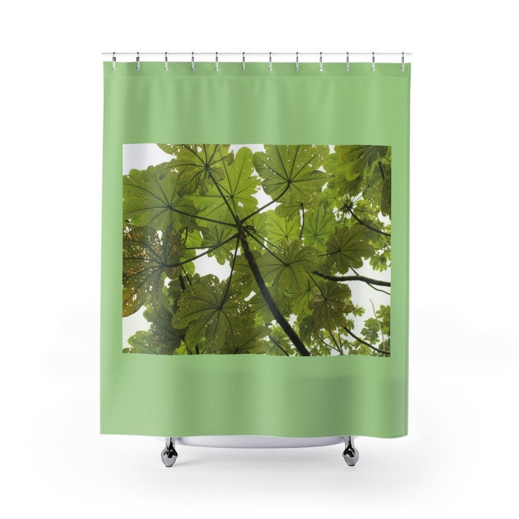 EYNF - Shower Curtains - Yagrumo tree leaves / Hojas de Yagrumo - El Yunque rain forest PR - Yunque Store