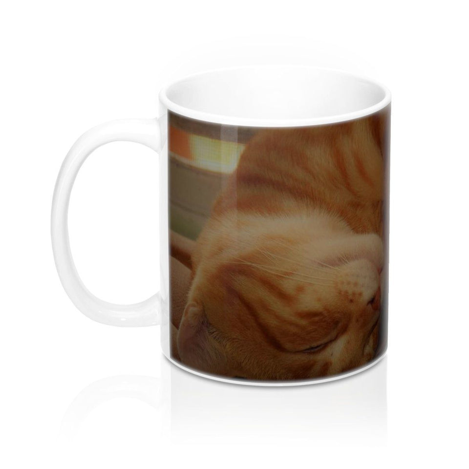 Family PET - Mug 11oz - The hard-working cat named Orange - guess why? Mug Printify