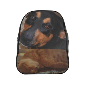 Family PETS - School Backpack - Two good friends - the dog Firo and the hard-working cat Orange! Bags Printify