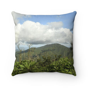 Faux Suede Square Pillow - Awesome view of El Yunque rainforest peaks – Puerto Rico. - Yunque Store