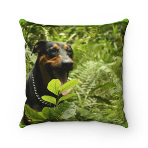Faux Suede Square Pillow - Firo the explorer dog in Sabana Park - El Yunque – Puerto Rico. - Yunque Store