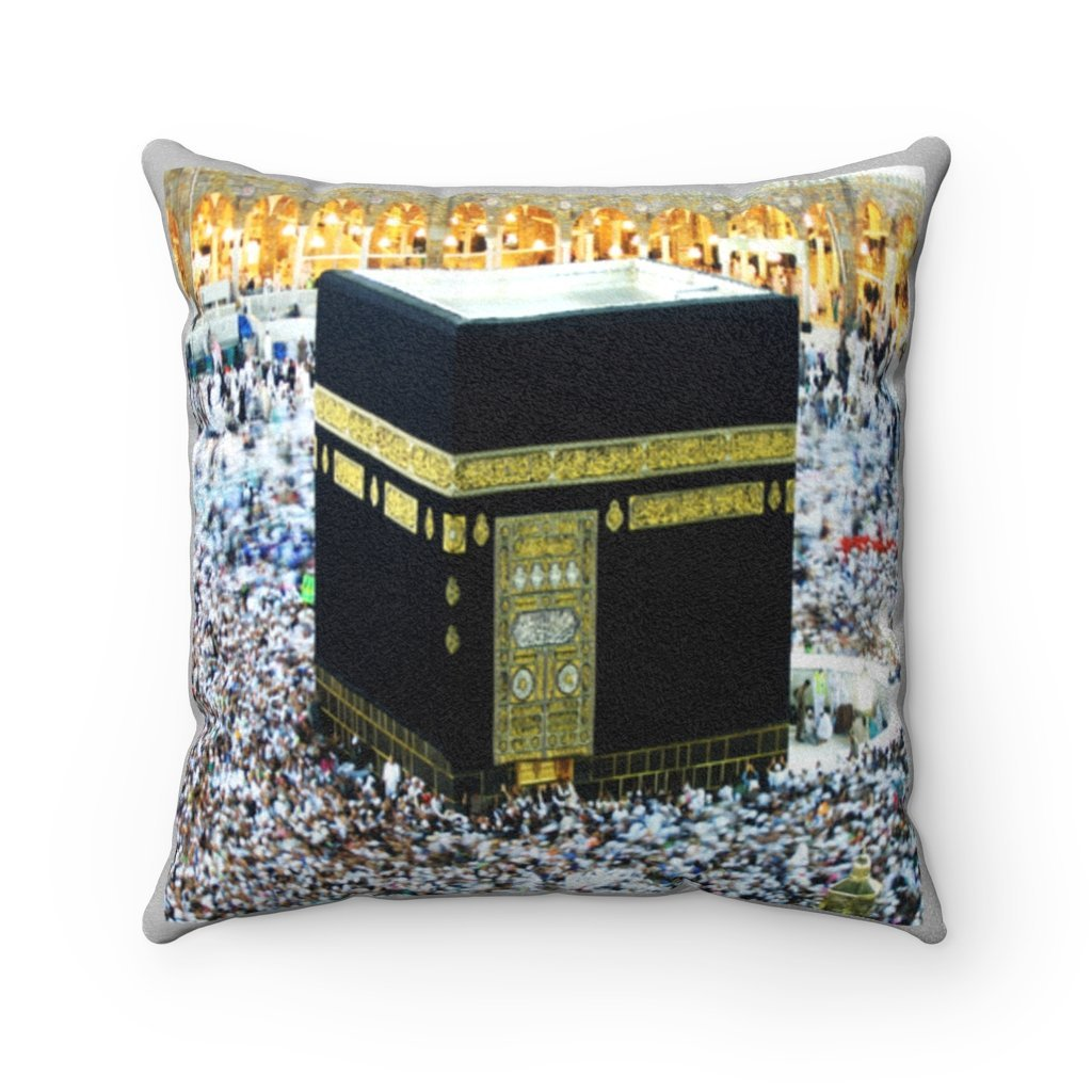 Faux Suede Square Pillow - Holly Kaaba in Mecca, Saudi Arabia - Yunque Store