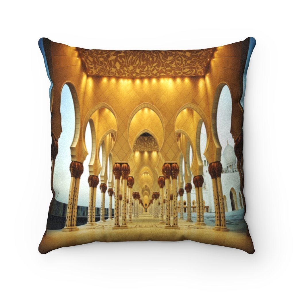 Faux Suede Square Pillow - Inside wonders of Shikh Zayed Grand mosque in Abu Dhabi - UAE - Yunque Store