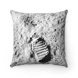 Faux Suede Square Pillow - On July 20, 1969, Neil Armstrong became the first human to step on the moon - Yunque Store