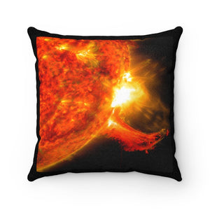 🌞 Faux Suede Square Pillow - Our Big Brother The SUN - so far away - 150 million km - Yunque Store