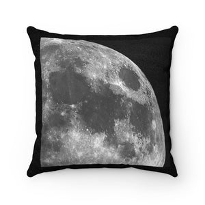 🌛 Faux Suede Square Pillow - Our Little Sister Moon - So Close and So Far... at 385,000 km away - Yunque Store