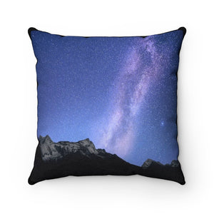 🌟 Faux Suede Square Pillow - Our Window to the UNIVERSE - the Night Sky in the Himalayas - Yunque Store