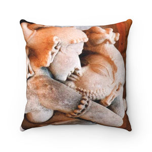 Faux Suede Square Pillow - Passionate lovers - sacred Hindu temples - India - Yunque Store